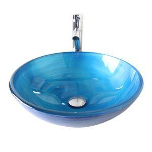 (Entrepôt UE) Moderne mode rond Motif en spirale bleu clair lavabo vasque évier en verre trempé avec robinet haut courbé ensemble