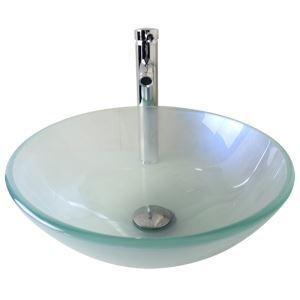 Moderne mode rond brosse lavabo vasque évier en verre trempé avec robinet haut courbé ensemble