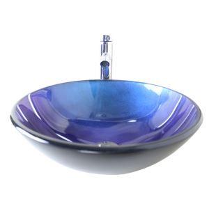 Moderne mode rond bleu foncé lavabo vasque évier en verre trempé avec robinet haut courbé ensemble