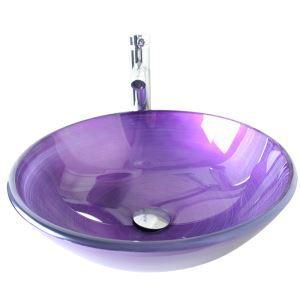Moderne mode rond violet lavabo vasque évier en verre trempé avec robinet haut courbé ensemble