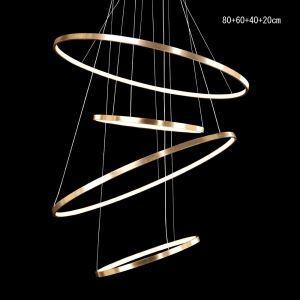 Moderne simple LED suspension en aluminium Lampe décorative or pour salle 4 anneaux 80+60+40+20cm