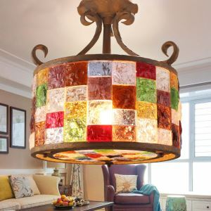 Style européen Abat-jour en verre coloré matériel en fer 3 lumières Suspension