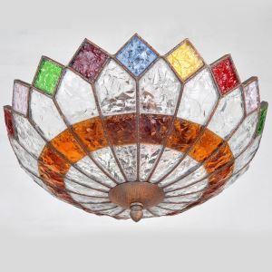 Style européen Abat-jour en verre coloré matériel en fer 3 lumières Plafonnier