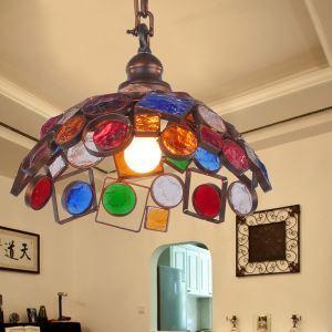 Style européen Abat-jour en verre coloré matériel en fer 1 lumières Suspension