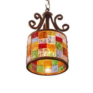 Style européen Abat-jour en verre coloré matériel en fer 1 lumières Suspension diamètre 25cm