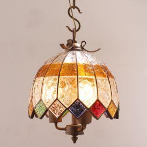 Style européen Abat-jour en verre coloré matériel en fer 2 lumières Suspension diamètre 30cm