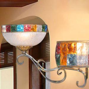 (Entrepôt UE) Style européen Abat-jour en verre coloré matériel en fer 2 lumières Applique murale