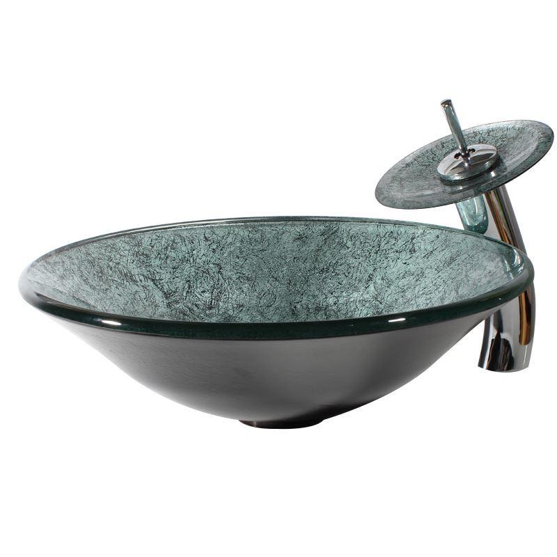 lavabo en verre tremp rond et robinet en disque ensemble pour salle de bains. Black Bedroom Furniture Sets. Home Design Ideas