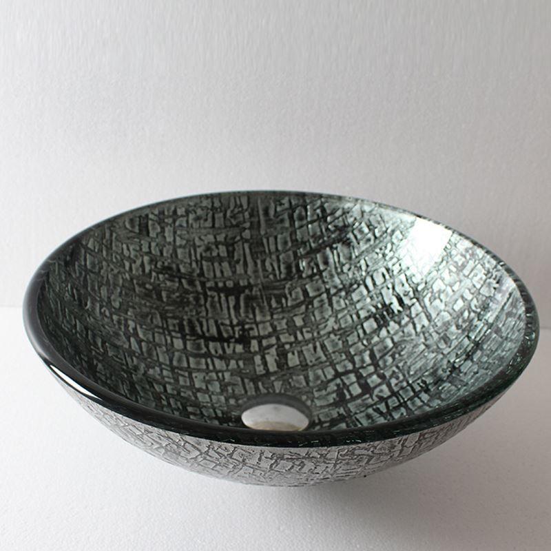 lavabo en verre tremp rond pour salle de bains. Black Bedroom Furniture Sets. Home Design Ideas