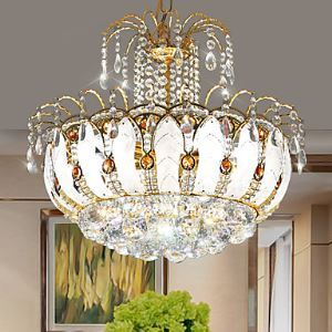 (Entrepôt UE) Lustre Moderne 45cm LED cristal Lumières pendentif avec feuilles verre et Cristal Balles pour l'éclairage de salle à manger (952-45)