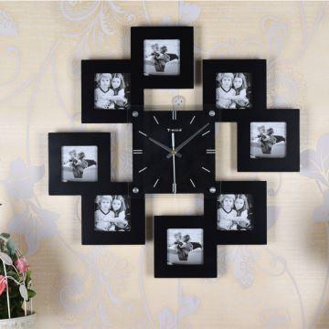 entrep t ue horloge murale avec cadre de photo cr ative. Black Bedroom Furniture Sets. Home Design Ideas
