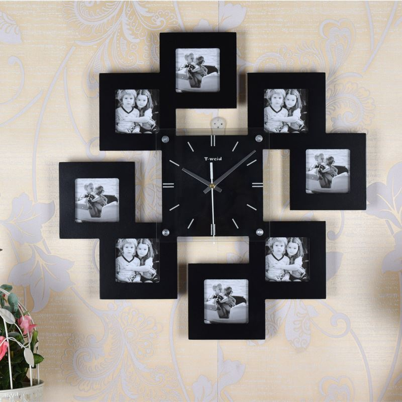entrep t ue horloge murale avec cadre de photo cr ative pour chambre. Black Bedroom Furniture Sets. Home Design Ideas