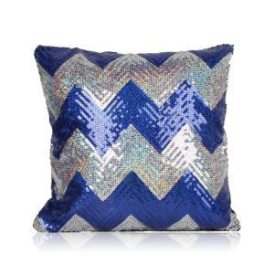 Nouveau motif en vagues Paillettes canapé club de voiture oreiller couleur de saphir+argent