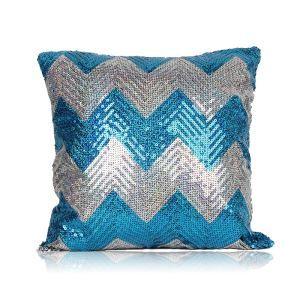 Nouveau motif en vagues Paillettes canapé club de voiture oreiller ciel bleu+argent