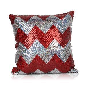Nouveau motif en vagues Paillettes canapé club de voiture oreiller rouge+argent