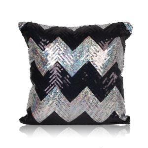 Nouveau motif en vagues Paillettes canapé club de voiture oreiller noir+argent