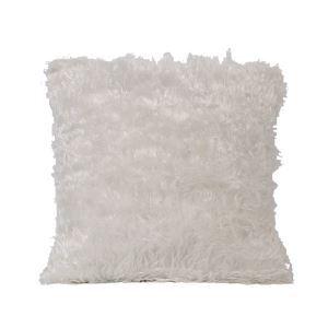 Minimaliste européen imitation fourrure oreiller en blanc