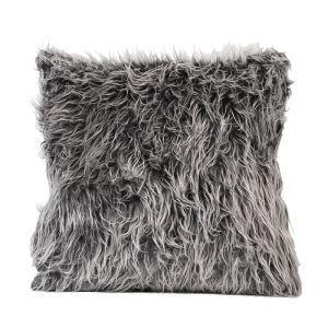 Minimaliste européen imitation fourrure oreiller en gris foncé