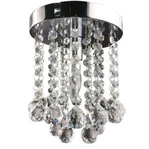 (Entrepôt UE) Livraison gratuite pas cher mini Moderne chromé cristal plafonnier K9 cristal Double boule de cristal pour l'entrée salon chambre à coucher