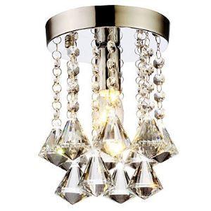(Entrepôt UE) Livraison gratuite pas cher mini Moderne chromé cristal plafonnier K9 cristal Forme Diamond Double Cristal pour l'entrée salon chambre à coucher