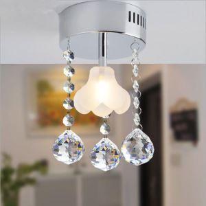 (Entrepôt UE) Livraison gratuite pas cher mini Moderne chromé cristal plafonnier forme de fleur K9 cristal pour l'entrée salon chambre à coucher