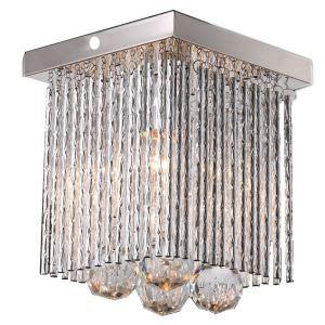 (Entrepôt UE) Livraison gratuite pas cher mini Moderne chromé cristal plafonnier Simple tête carrée Cristal lampe pour l'entrée salon chambre à coucher