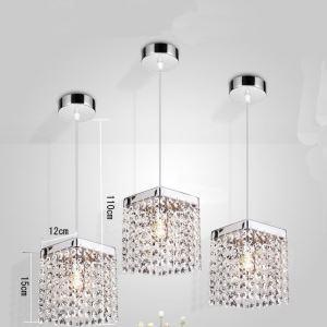(Entrepôt UE) Livraison gratuite pas cher mini Moderne chromé cristal suspension une lumière carré pour l'entrée salon chambre à coucher