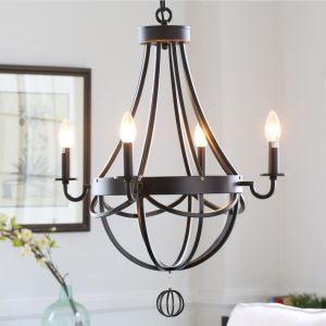 (Entrepôt UE)Style Antique américaine ville suspension Fer Forgé Peinture 4 lumières pour salle chambre cuisine