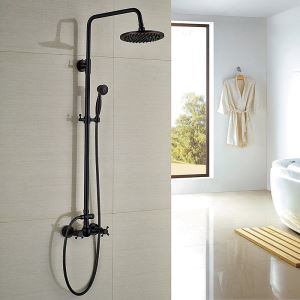 Colonne de douche avec robinetterie en laiton peinture noire style rétro pour salle de bains