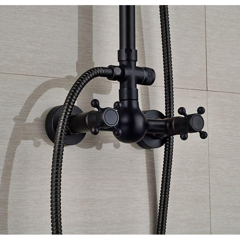 Colonne de douche avec robinetterie en laiton peinture noire style r tro pour salle de bains - Robinetterie laiton salle de bain ...