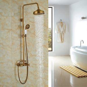Colonne de douche avec robinetterie en cuivre brossé bronze pour salle de bains rétro