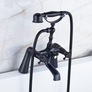 (Entrepôt UE) Robinet de baignoire style rétro peinture noire Salle de bains