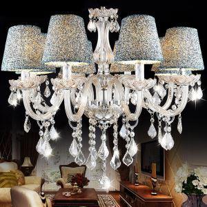 Lustre cristal à 8 lampes D 60 cm pour salle salon chambre moderne