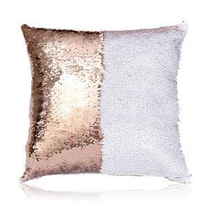 (Entrepôt UE) Sirène paillettes de deux couleur Oreiller Coussin Sequin Flip peut changer de couleur Champagne+blanc