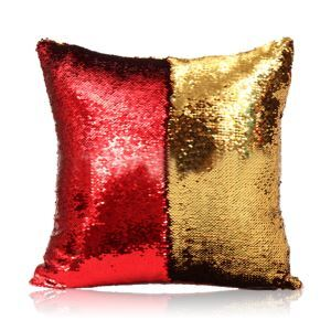 (Entrepôt UE) Sirène paillettes de deux couleur Oreiller Coussin Sequin couleur Flip magie DIY KTV Bar festival voiture boîte de nuit rouge+or