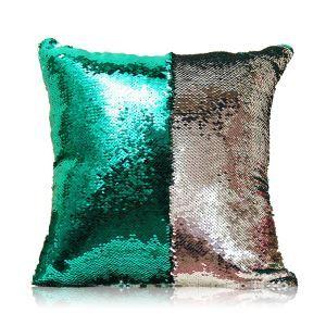 (Entrepôt UE) Sirène paillettes de deux couleur Oreiller Coussin Sequin couleur Flip magie DIY KTV Bar festival voiture boîte de nuit vert de paon+argent