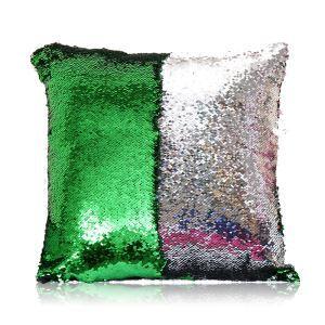 (Entrepôt UE) Sirène paillettes de deux couleur Oreiller Coussin Sequin couleur Flip magie DIY KTV Bar festival voiture boîte de nuit émeraude+argent
