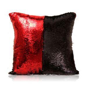(Entrepôt UE) Sirène paillettes de deux couleur Oreiller Coussin Sequin couleur Flip magie DIY KTV Bar festival voiture boîte de nuit rouge+noir