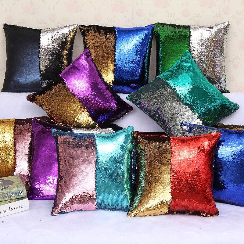 sir ne paillettes de deux couleur oreiller coussin sequin. Black Bedroom Furniture Sets. Home Design Ideas