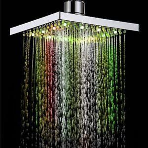 (Entrepôt UE) 7 Couleurs changeant LED contemporain robinet pommeau de douche de 8 pouces