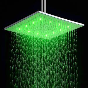 Pomme haute carrée laiton D 30 cm LED pour salle de bains