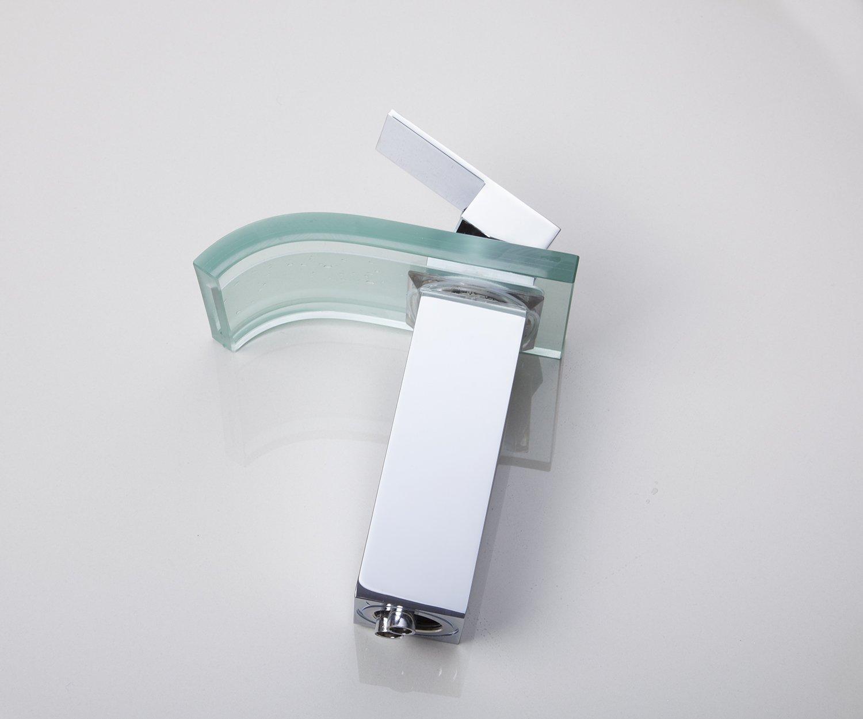 Robinet de lavabo en verre ontemporain chrom led pour for Lavabo salle de bain en verre
