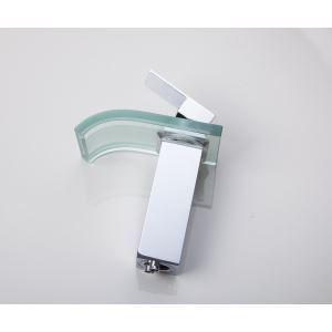 (Entrepôt UE) Robinet de lavabo en verre ontemporain chromé LED pour salle de bain