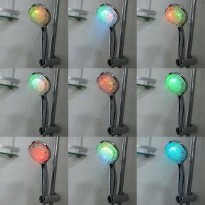 (Entrepôt UE) Contemporain chromé rond couleur changeant  pommeau de douche LED à la main