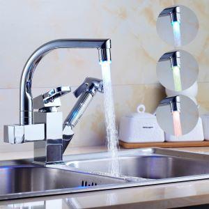 (Entrepôt UE) Couleur contemporain LED changeant déroulant robinet de cuisine-Chromé