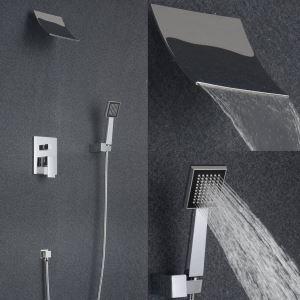Contemporaine robinet de douche cascade avec pommeau de douche + douchette (support mural)