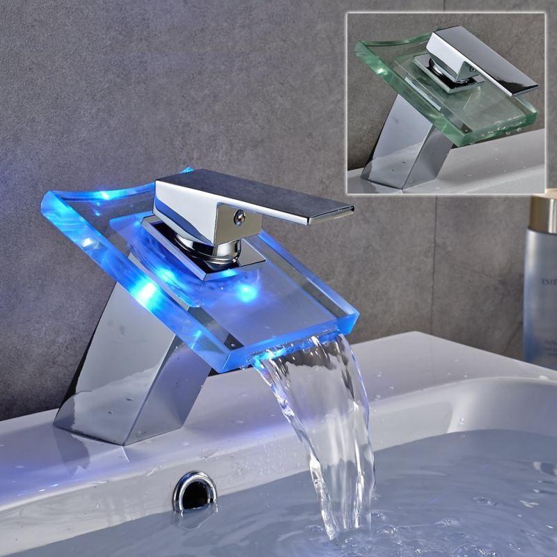Robinets robinet de lavabo entrep t ue changeant de for Robinet salle de bain cascade