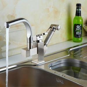 (Entrepôt UE) Printemps en laiton solide sortie de robinet de cuisine - Nickel fini polissé