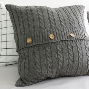(Entrepôt UE) Village américain fait à la main laine bouton coussin oreiller
