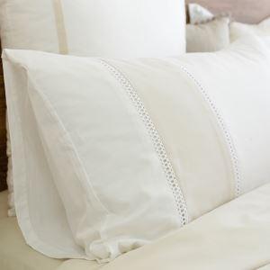 (Entrepôt UE) Simple Beige broderie collure Taie d'oreiller 48x74cm un